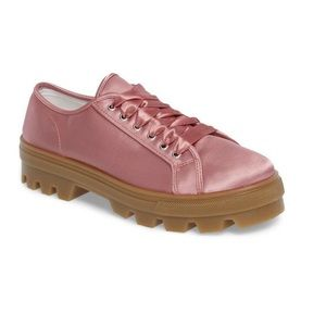 Clover Pink Satin Military Sneakers